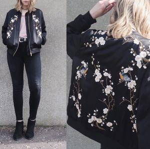 Zara Floral Embroidered Satin Bomber Jacket